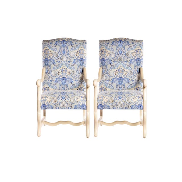 Early 21st Century Louis XIII Style Upholstered Arm Chairs- A Pair For Sale