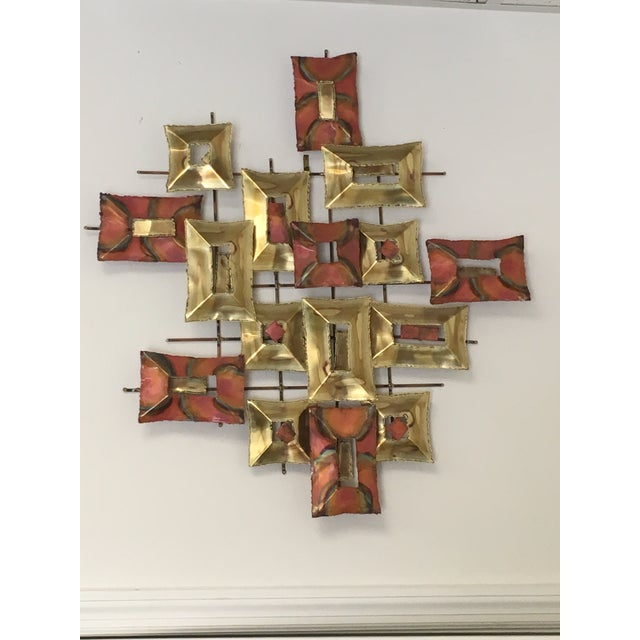 20th Century Brutalist Brass and Copper Wall Sculpture For Sale - Image 10 of 10