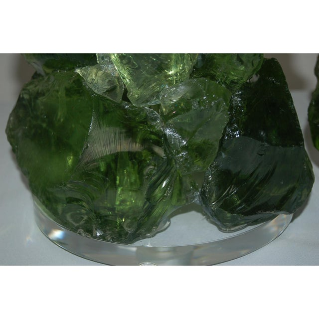 Glass Glass Rock Table Lamps by Swank Lighting Green For Sale - Image 7 of 11