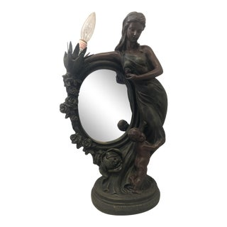 Art Deco Crosa Woman Sculpture Mirror Lamp, 1990s For Sale
