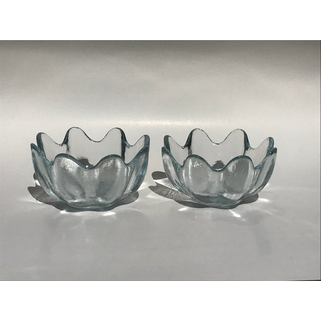 1960s Blenko Crystal Clear American Art Glass Lotus Bowls - A Pair For Sale - Image 5 of 6