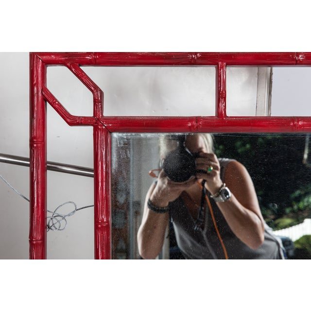 Large Red Faux Bamboo Chinoiserie Mirror For Sale - Image 4 of 4