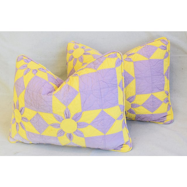 """Boho Chic Farmhouse Americana Patchwork Feather/Down Pillows 24"""" X 18"""" - Pair For Sale - Image 10 of 13"""