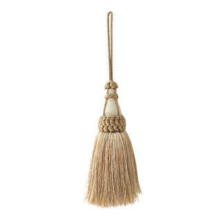 Tan and White Key Tassel With Looped Ruche Trim For Sale