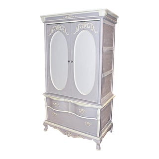 Custom Chalk Painted Linen Press Armoire by Lexington
