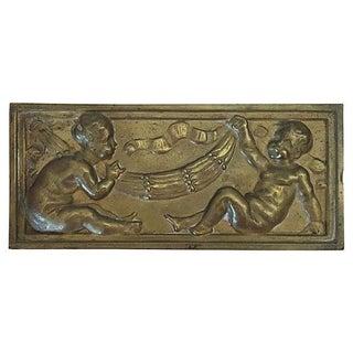 Parisian Bronze Plaque With Cherubs For Sale