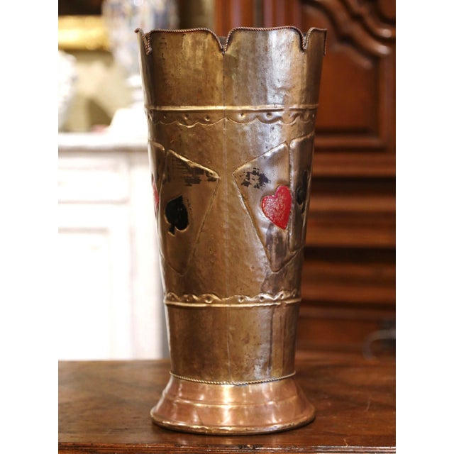 Early 20th Century French Brass Umbrella Stand With Playing Card Symbols For Sale - Image 10 of 13