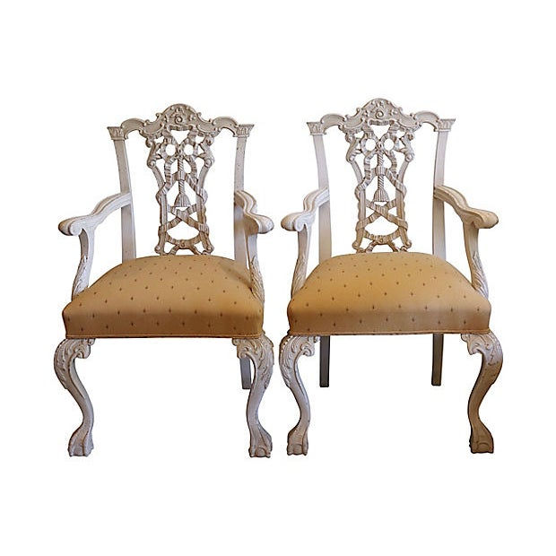 Yellow 1960s Italian Hand-Carved Chairs - a Pair For Sale - Image 8 of 8