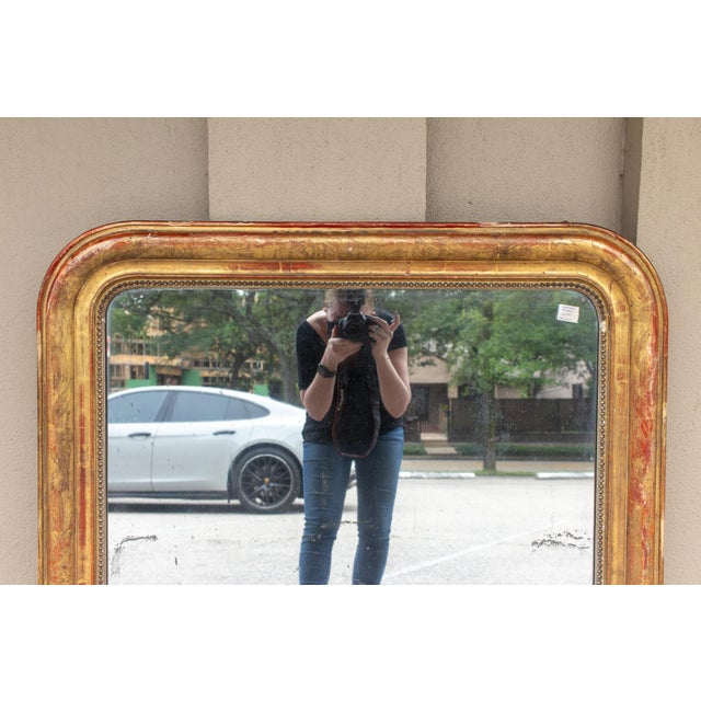 Late 19th Century Antique French Gilt Louis Philippe Mirror With Floral Decoration For Sale - Image 5 of 13