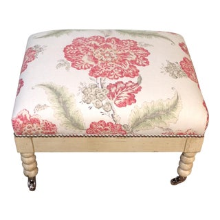 Lillian August Tufted Upholstered Floral Ottoman For Sale