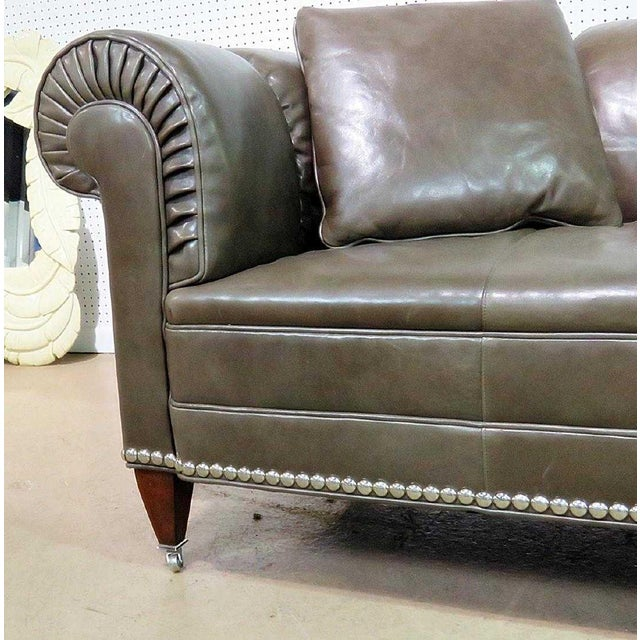 Art Deco Barbara Barry for Baker Chesterfield Leather Sofa For Sale - Image 3 of 5