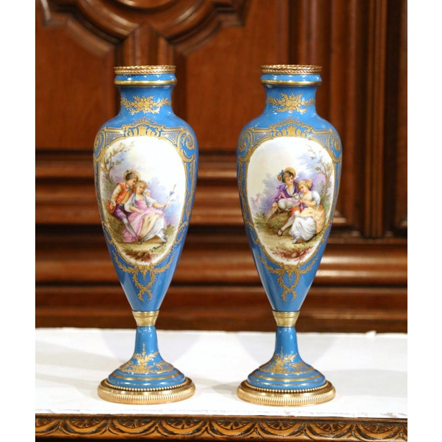 Superior Pair Of 19th Century French Hand Painted Porcelain And