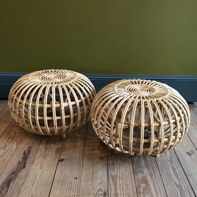 Franco Albini Small Rattan Ottoman - Image 7 of 8