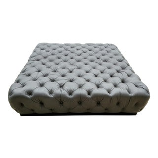 Modern Carpenter Gray Leather Tufted Ottoman For Sale