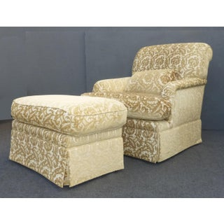 French Country Gold & White Velvet Arm Chair & Ottoman Preview