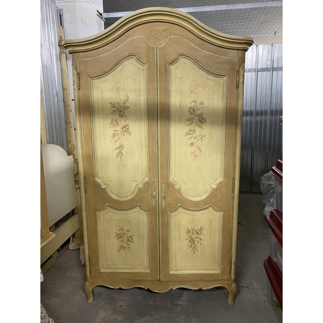Baker Furniture by Julia Gray- Hand Painted Armoire For Sale - Image 4 of 4