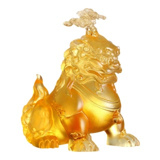 """Liuli Crystal Foo Dog, Evergreen Pine Sculpture, """"The Evergreen Lion"""" Limited Edition For Sale"""