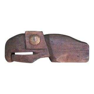 Vintage Carved Wood Folk Eagle Totem Head For Sale