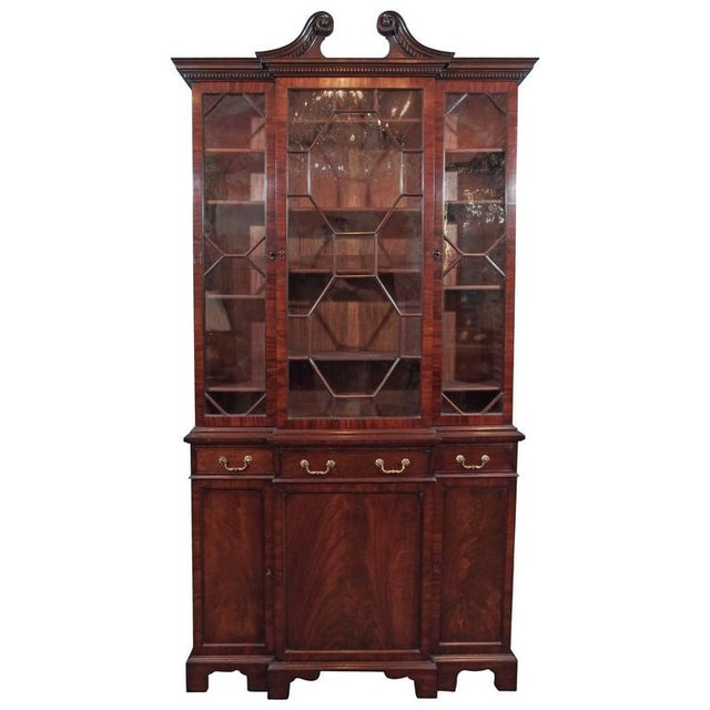Brown Antique English Mahogany Small Breakfront Bookcase For Sale - Image 8 of 8