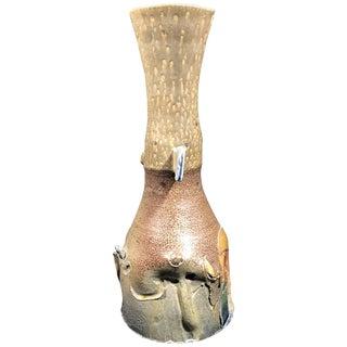 Brutalist Modern Stoneware Pottery Multi Glaze Vase Signed For Sale