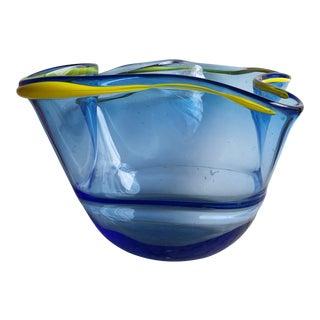 Signed Wavy Studio Glass Bowl or Vase For Sale
