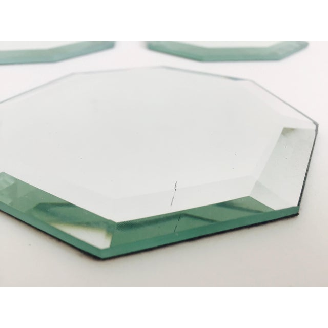 Vintage Octagonal Mirror Coasters - Set of 6 For Sale - Image 4 of 7