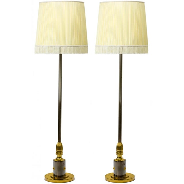 Maison Jansen Maison Jansen Pair of Refined Gold Bronze and Cannonball Patina Floor Lamps For Sale - Image 4 of 6