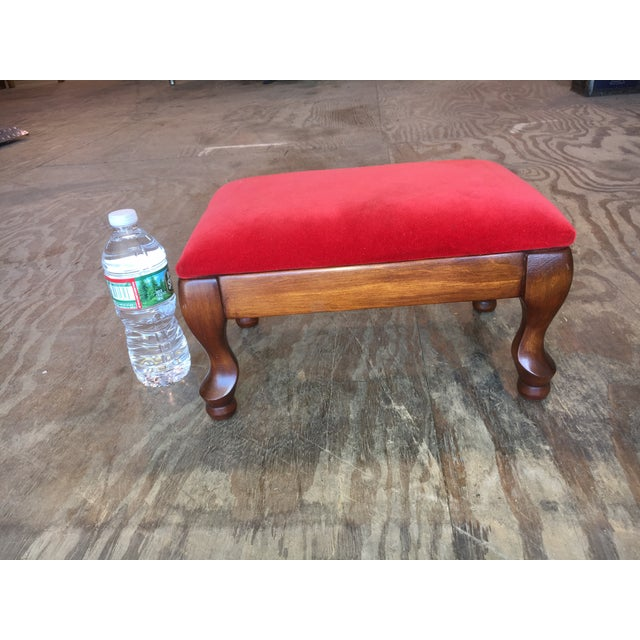 Vintage Red Upholstered Foot Stool - Image 6 of 8