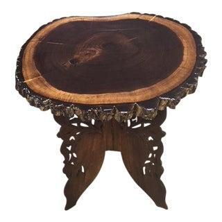 Modern Black Walnut Carved Base Table For Sale