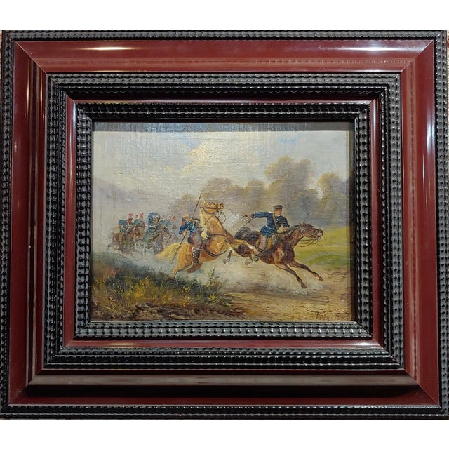 Hermann Volz -19th century Cavalry Battle -Oil painting c.1870s oil painting on canvas -Signed & dated 1870s frame size 13...