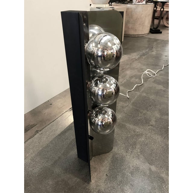 Metal Chrome Lamp With Three Large Bulbs For Sale - Image 7 of 10