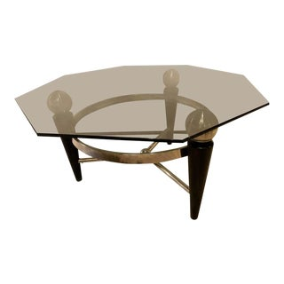 Modern Hexagonal Coffee or Low Table With Smokey Glass Top For Sale