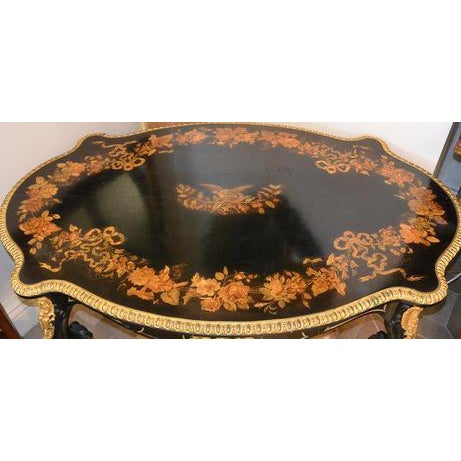 """Very fine 19th c. French Inlaid Bronze mounted 2 drawer center table writing table 29""""H 57""""L $11,500"""