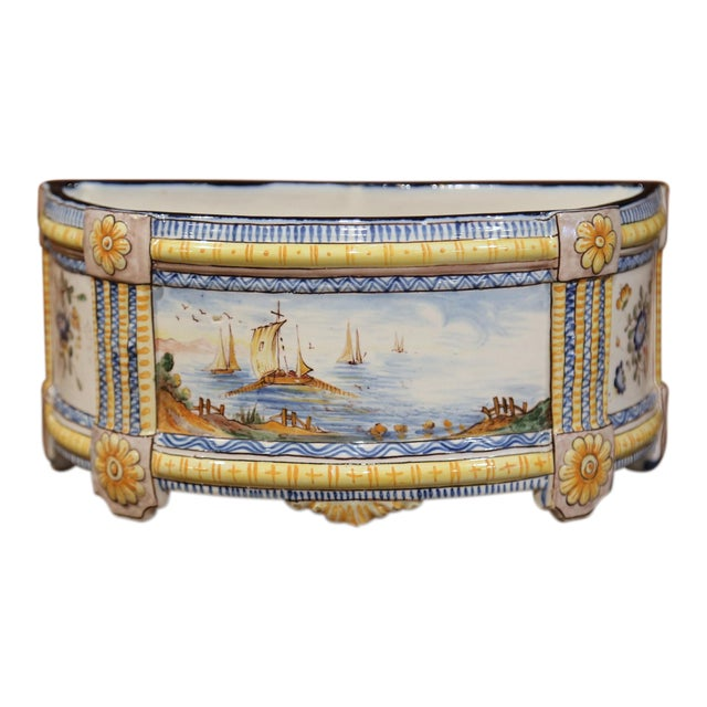 19th Century French Hand-Painted Demilune Jardinière With Sailboats and Flowers For Sale