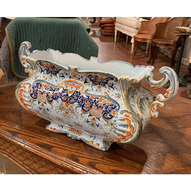 Early 20th Century Early 20th Century French Hand Painted Faience Jardinière From Normandy For Sale - Image 5 of 8