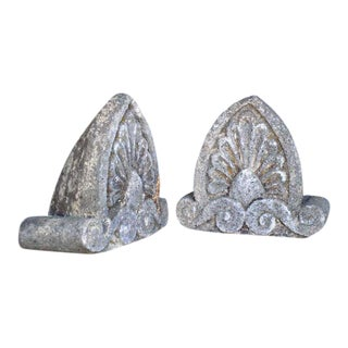 Pair of 19th Century Antique Carved Stone Pieces For Sale