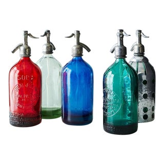 1940s Industrial Glass Seltzers - Set of 5 For Sale