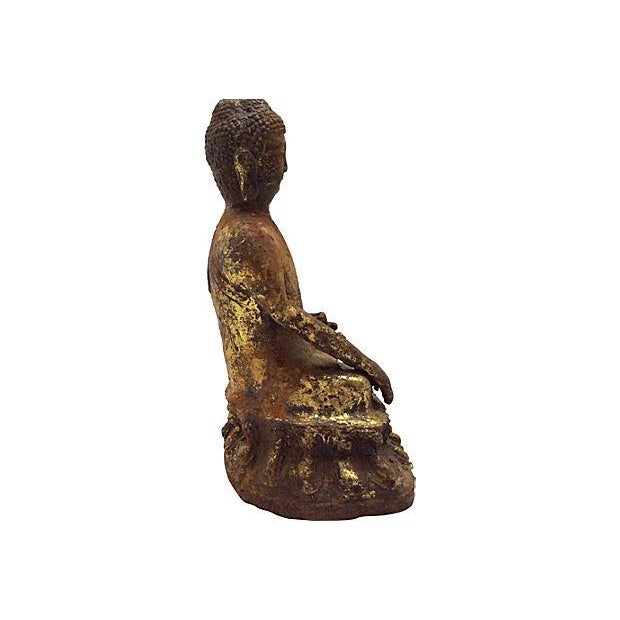 Antique Seated Altar Buddha For Sale - Image 4 of 5