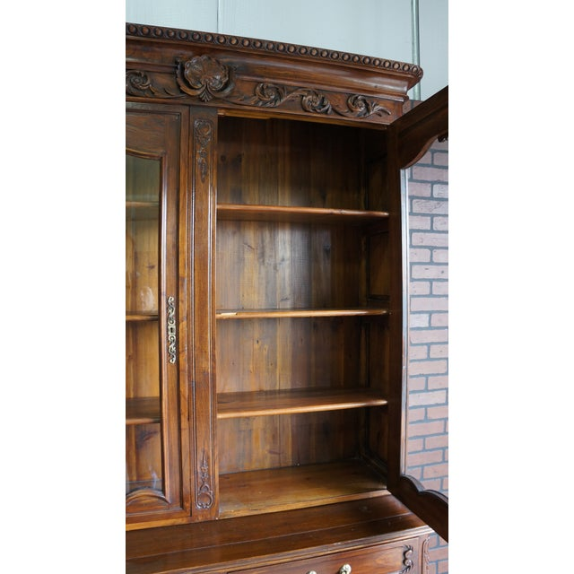 French Provincial Display Cabinet Hutch For Sale - Image 9 of 11