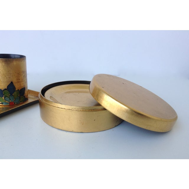Gold Gold Leaf Lacquered Smoke & Coaster Set For Sale - Image 8 of 11