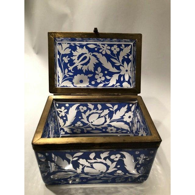 Antique Bohemian Glass Sugar Casket/ Jewelry/Vanity/Trinket Box For Sale - Image 12 of 13