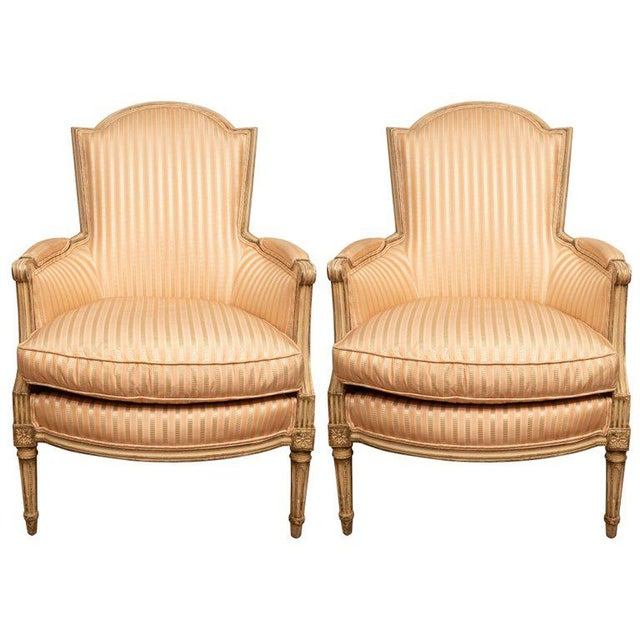 Orange Pair of Louis XVI Style Painted Bergères For Sale - Image 8 of 8