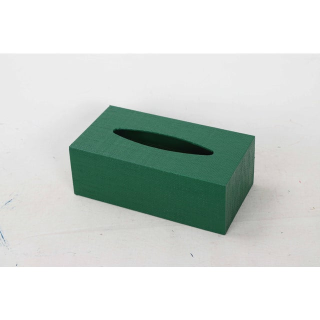 Green Linen Covered Tissue Box Cover For Sale - Image 4 of 8