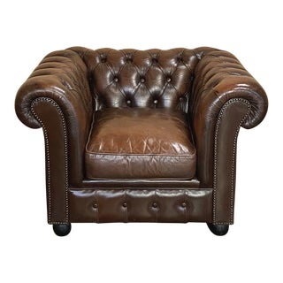 Chesterfield Tufted Leather Armchair For Sale