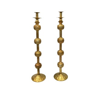 Late 20th Century Vintage Brass Etched Candleholders- A Pair For Sale
