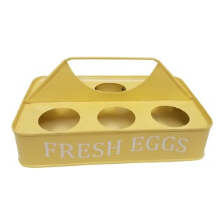 Vintage English Yellow Metal Egg Holder For Sale