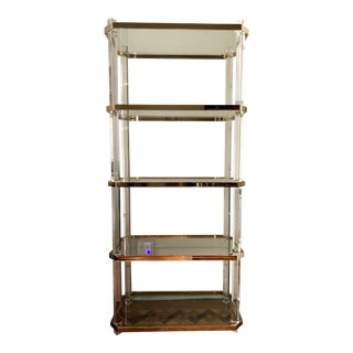 Vintage Hollywood Regency Lucite & Brass Etagere For Sale