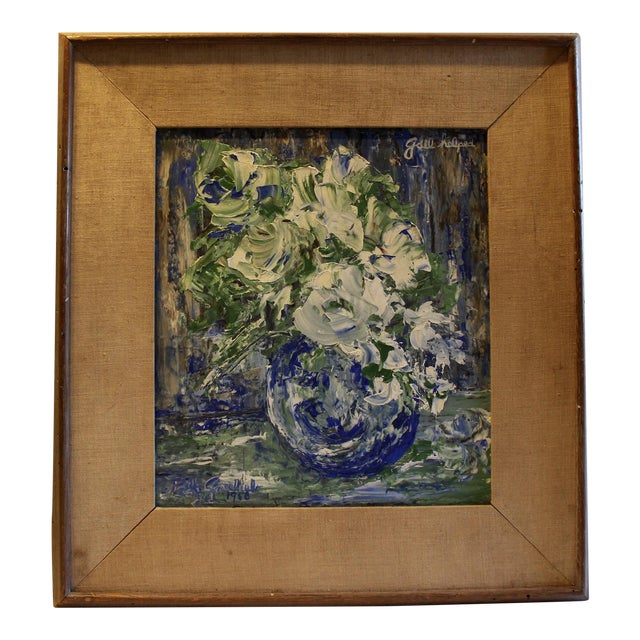 Mid-Century Blue Floral Still Life Painting - Image 1 of 5
