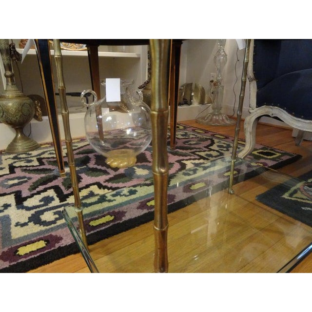 1960s Italian Bronze and Glass Two Tiered Table For Sale - Image 5 of 12