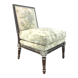 Hickory Chair Transitional Carved Wood Floral Print Slipper Chair For Sale